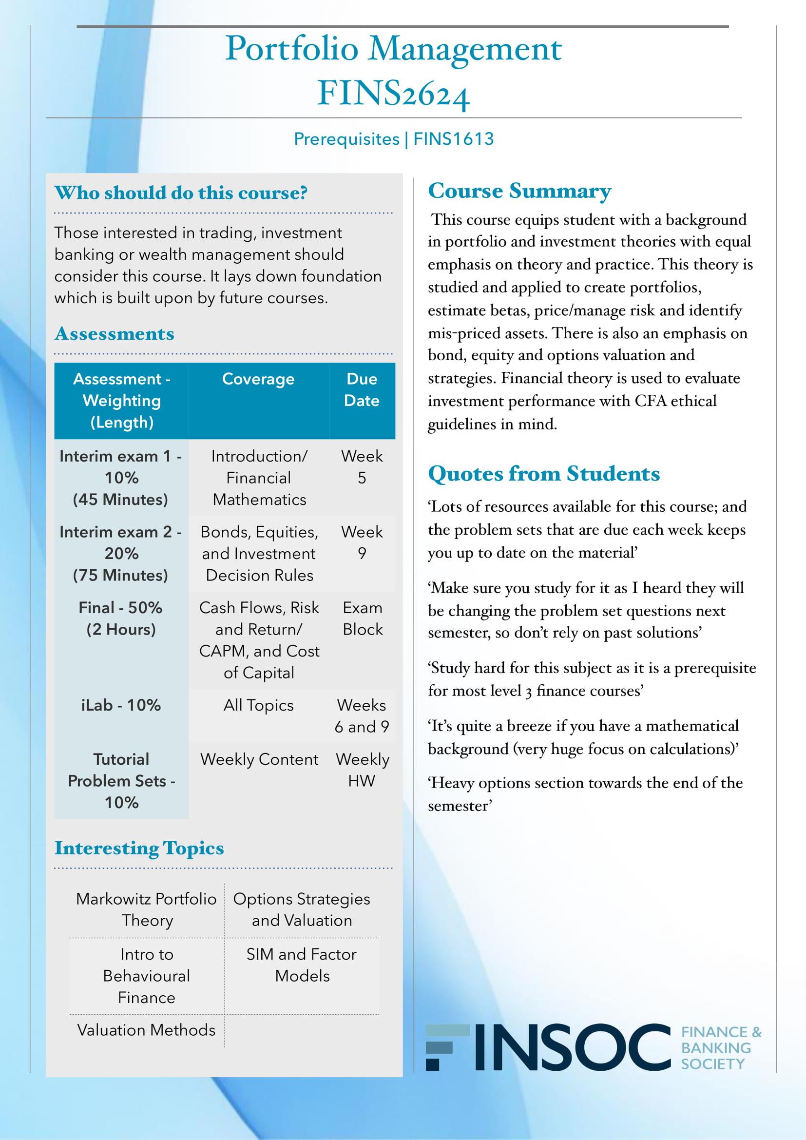 FINS2624 Portfolio Managementimage preview for post