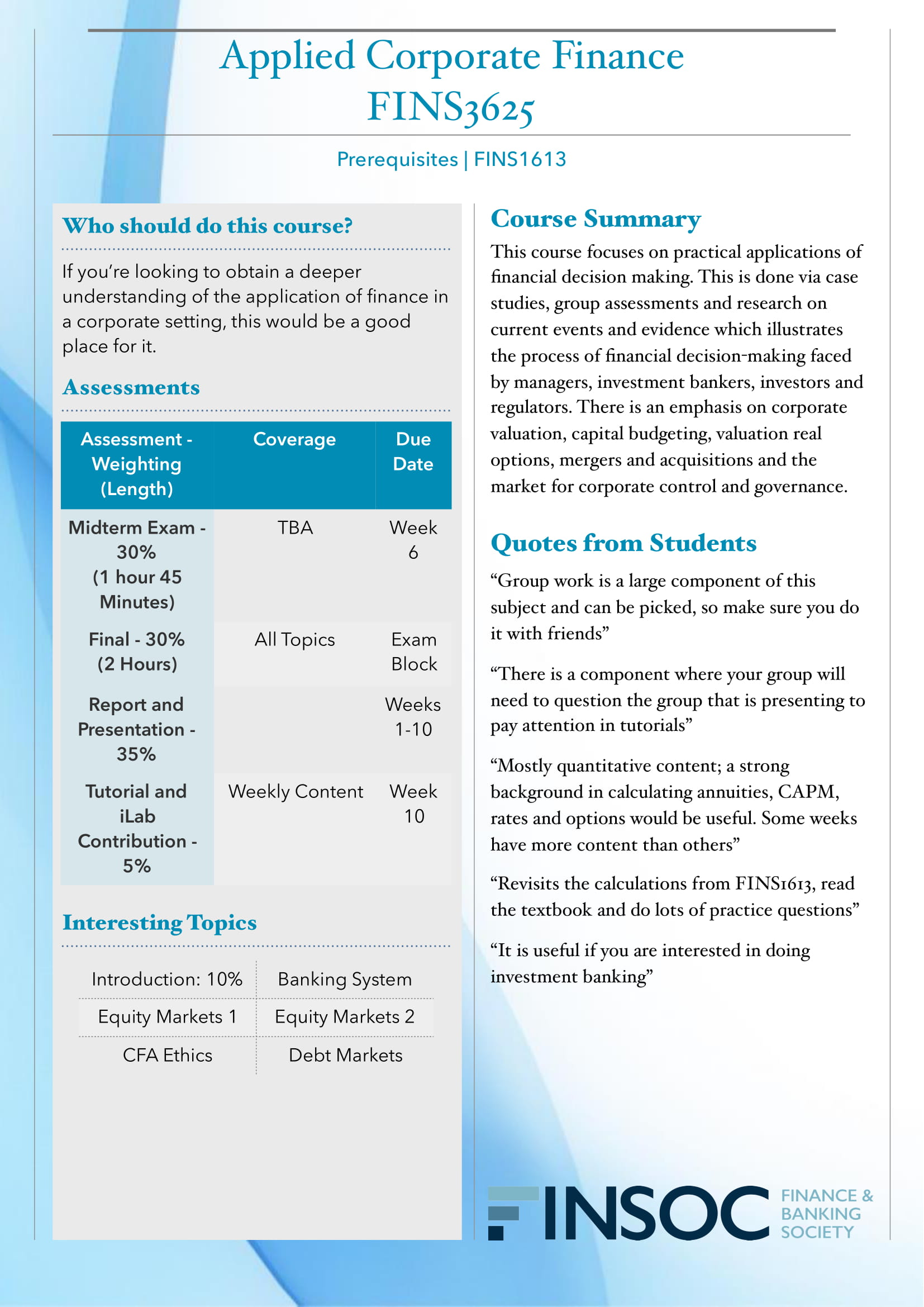 FINS3625 Applied Corporate Financeimage preview for post