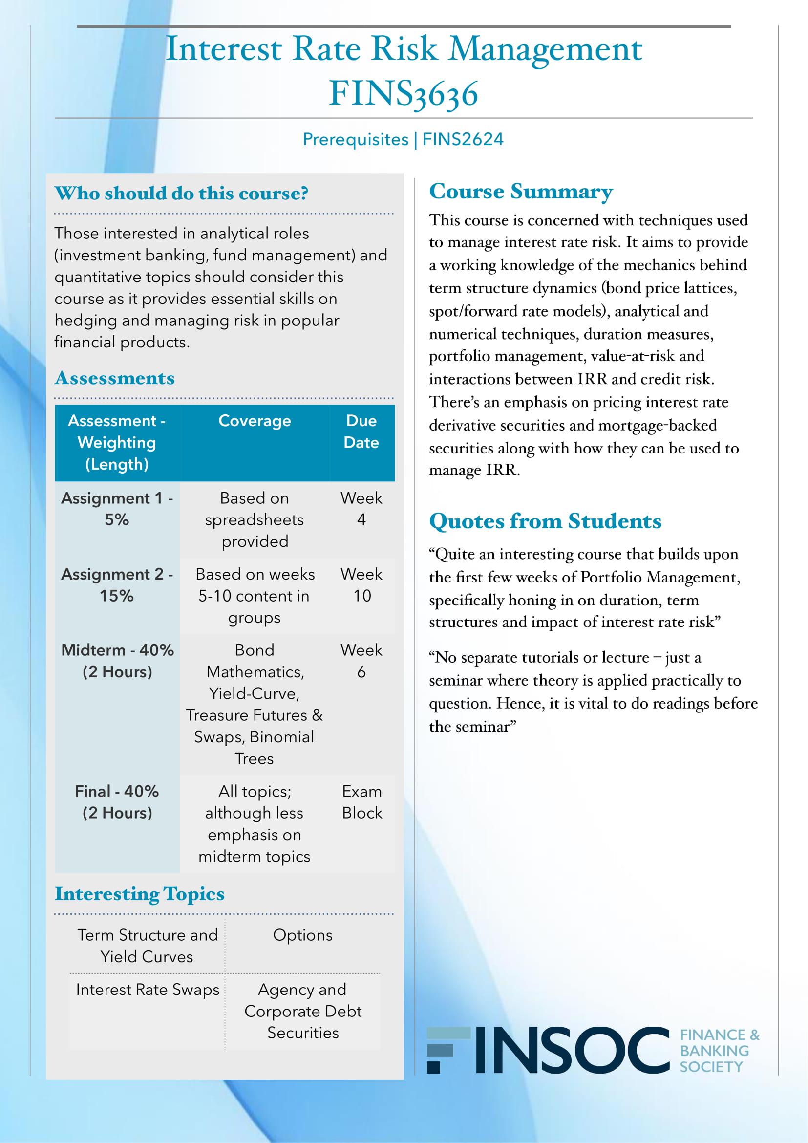 FINS3636 Interest Rate Risk Managementimage preview for post