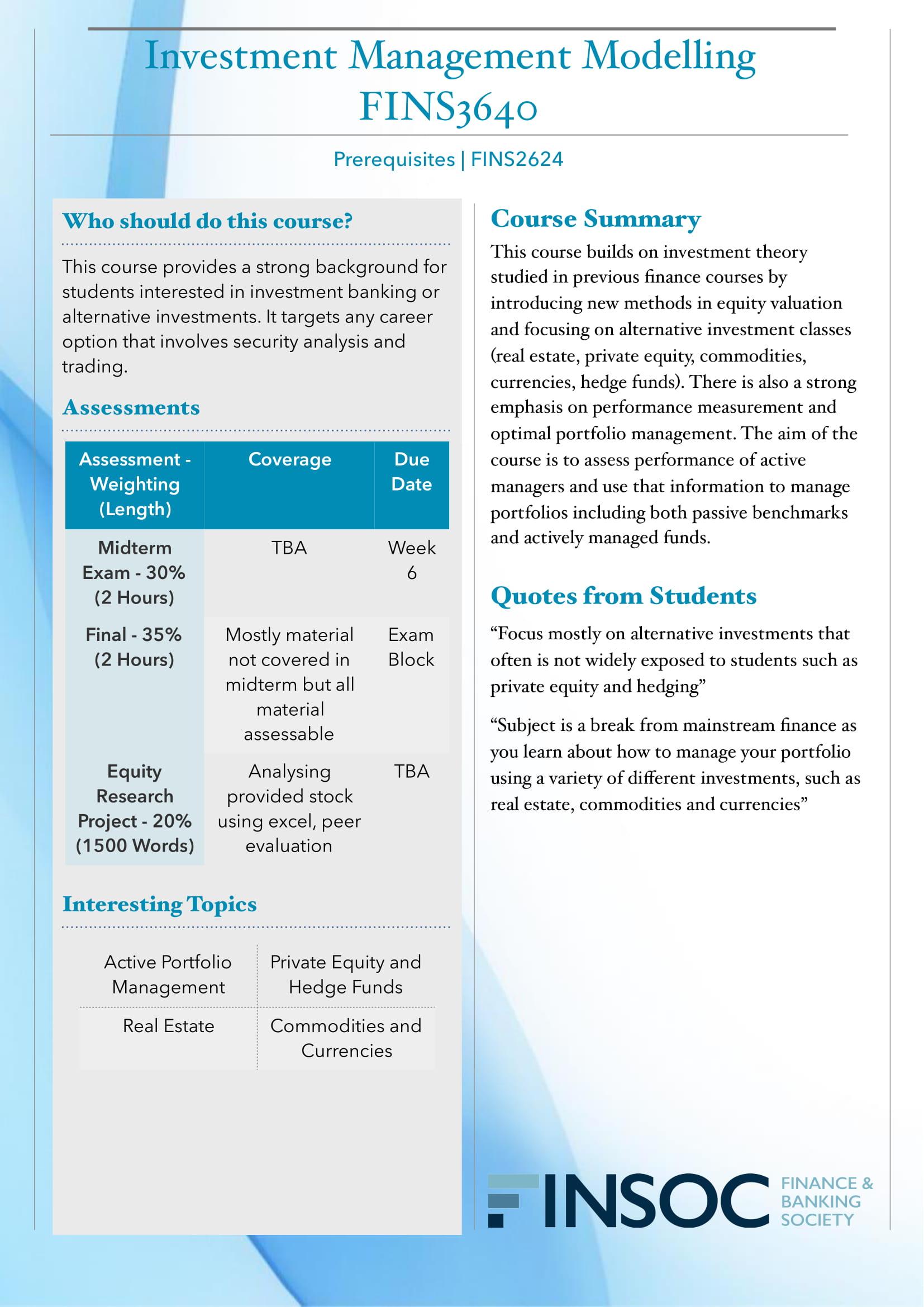 FINS3640 Investment Management Modellingimage preview for post